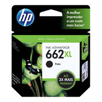 Cartucho de Tinta Original HP 662XL (6,5ml) Preto (CZ105AB)