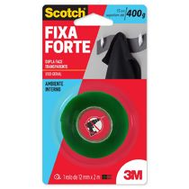 Fita Adesiva Dupla Face Transparente Scotch Fixa Forte (12 mm x 2 m) 3M