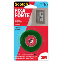 Fita Adesiva Dupla Face Transparente Scotch 3M Fixa Forte (25 mm x 2 m)